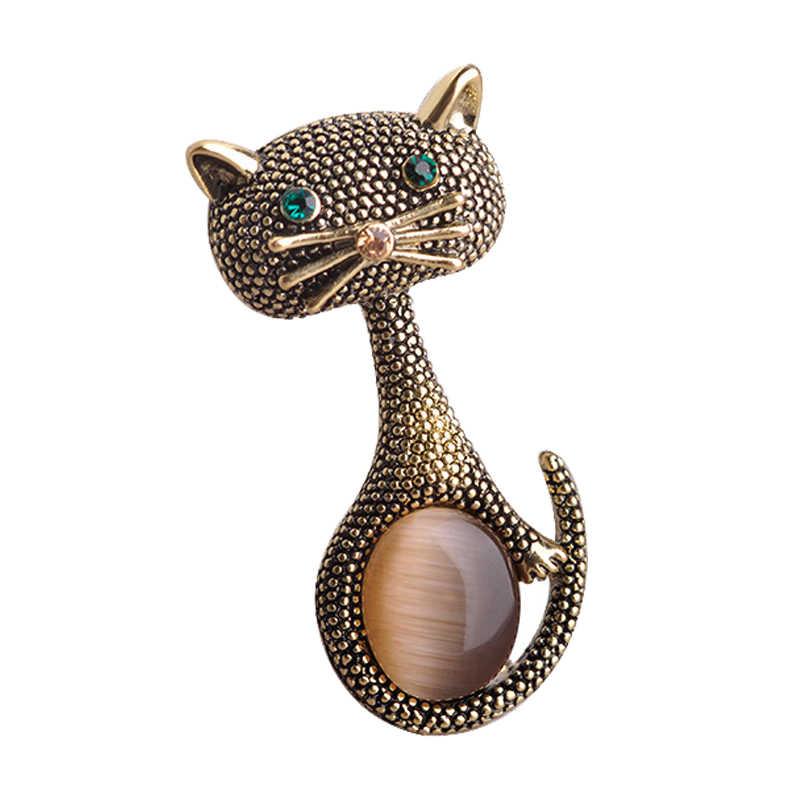 Vintage Opal Cat Eye Bros Pin untuk Wanita Warna Emas Lucu Hewan Bros Eropa Kerah Klip Pesta Pernikahan Bijoux