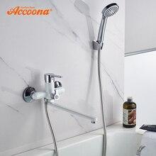 Смеситель для ванны Accoona, душевой смеситель, настенный кран «Водопад» с ручной насадкой для душа A7167