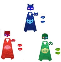 3 packs PJmasks Inspiriert Kostüm Cape; leuchtende Maske + 6 stücke Party Dekoration Harz Geburtstagsfeier Für Kinder Armband armband