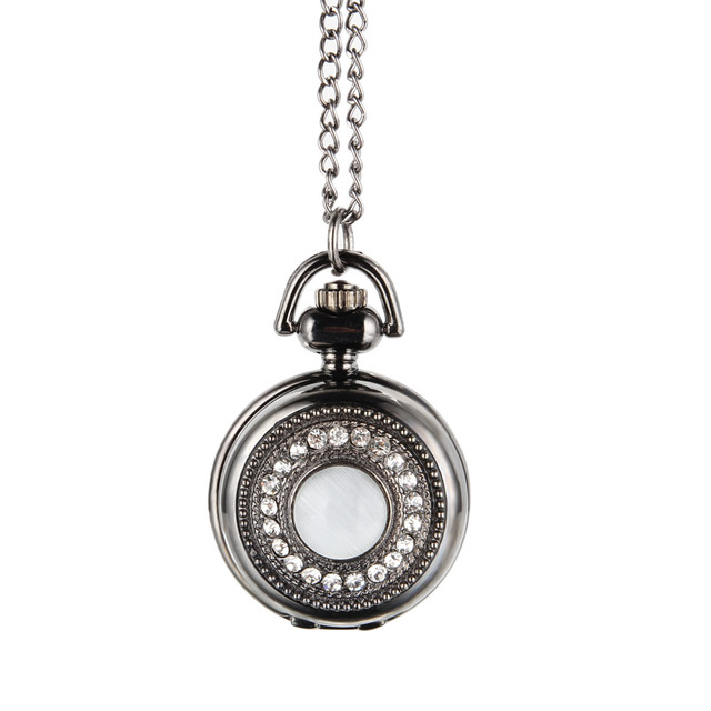 Fashion Crystal Round Quartz Fob Pocket Watch with Sweater Necklace Chain Gifts
