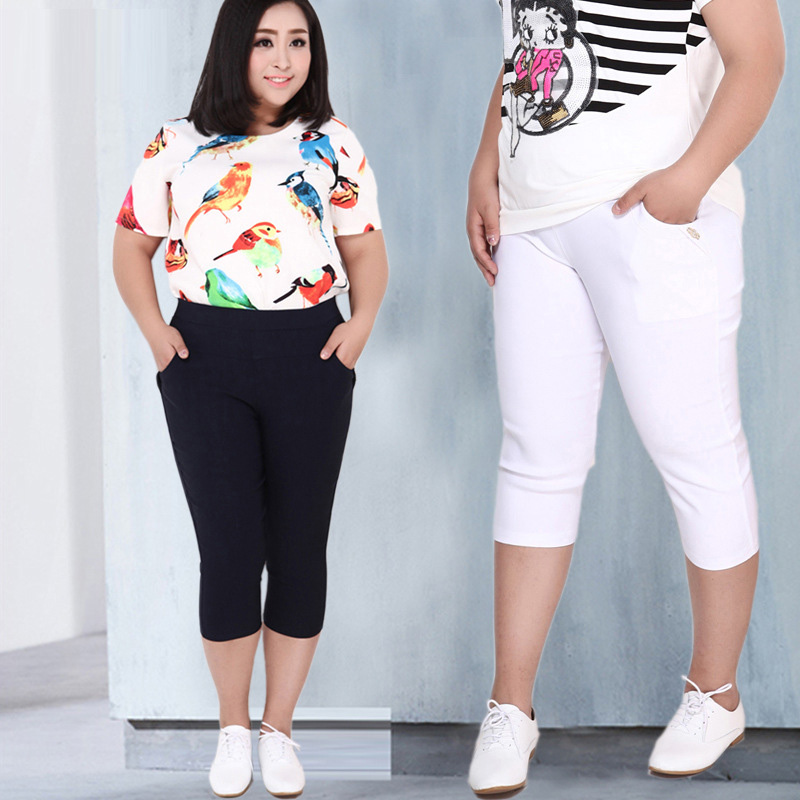 New 2019 Fashion Women's High Waist Pencil   Pants     Capris   Plus Size 2XL-6XL Women Casual   Pants   High Stretch Skinny Summer   Pants