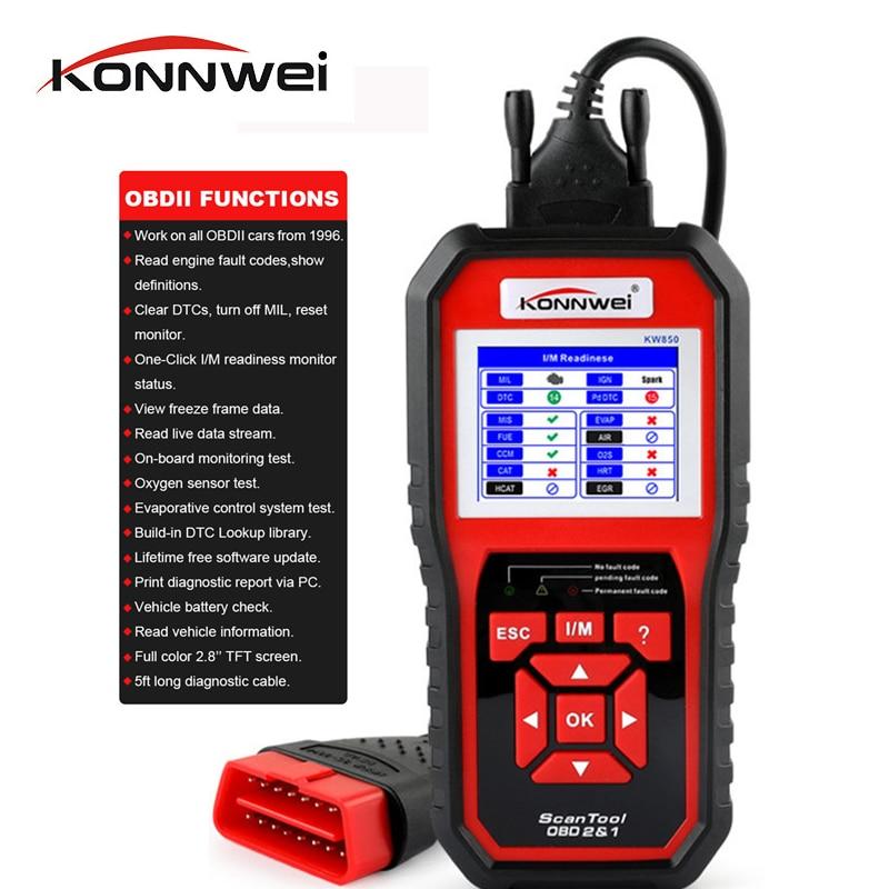 KONNWEI KW850 OBD2 Scanner EODB CAN Auto Scanner Un Aggiornamento Click Auto Diagnostico meglio di ELM327 Strumento di Scansione Tester Della Batteria