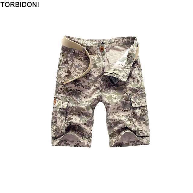51d85ebd55f15 Summer Men Bermuda Cargo Shorts Plus Size 28-38 Army Green Camouflage Zipper  Fly Multi Pockets Design Brand Casual Short Overall