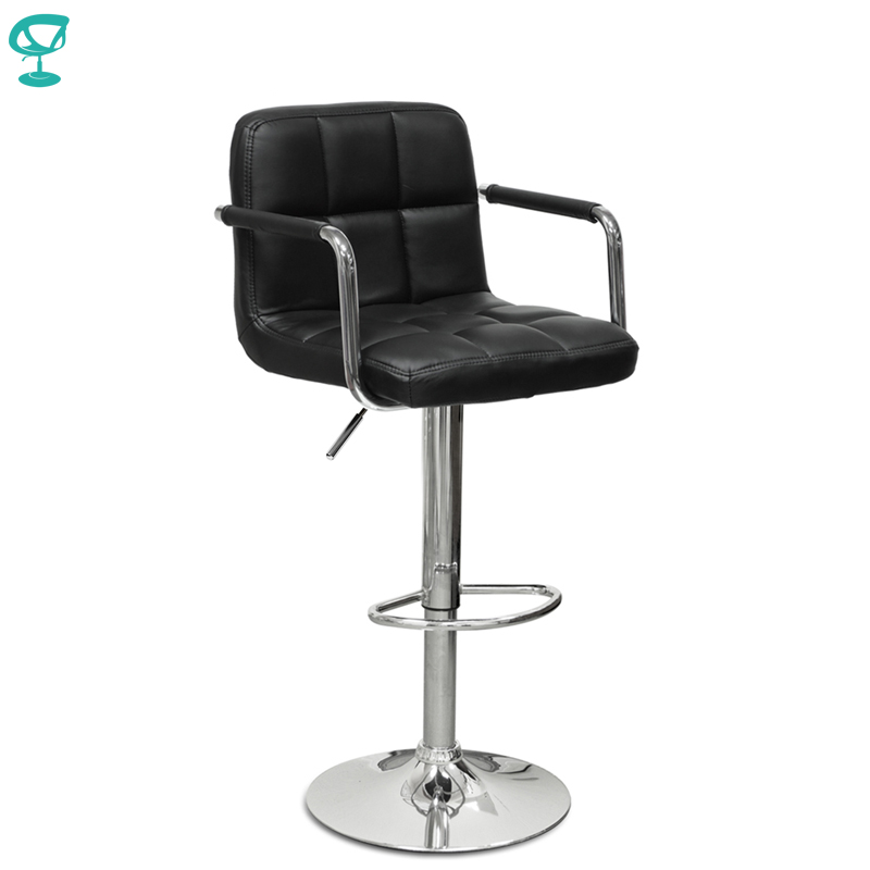 94375 Barneo N-69 Leather Kitchen Breakfast Bar Stool Swivel Bar Chair Black Color Free Shipping In Russia