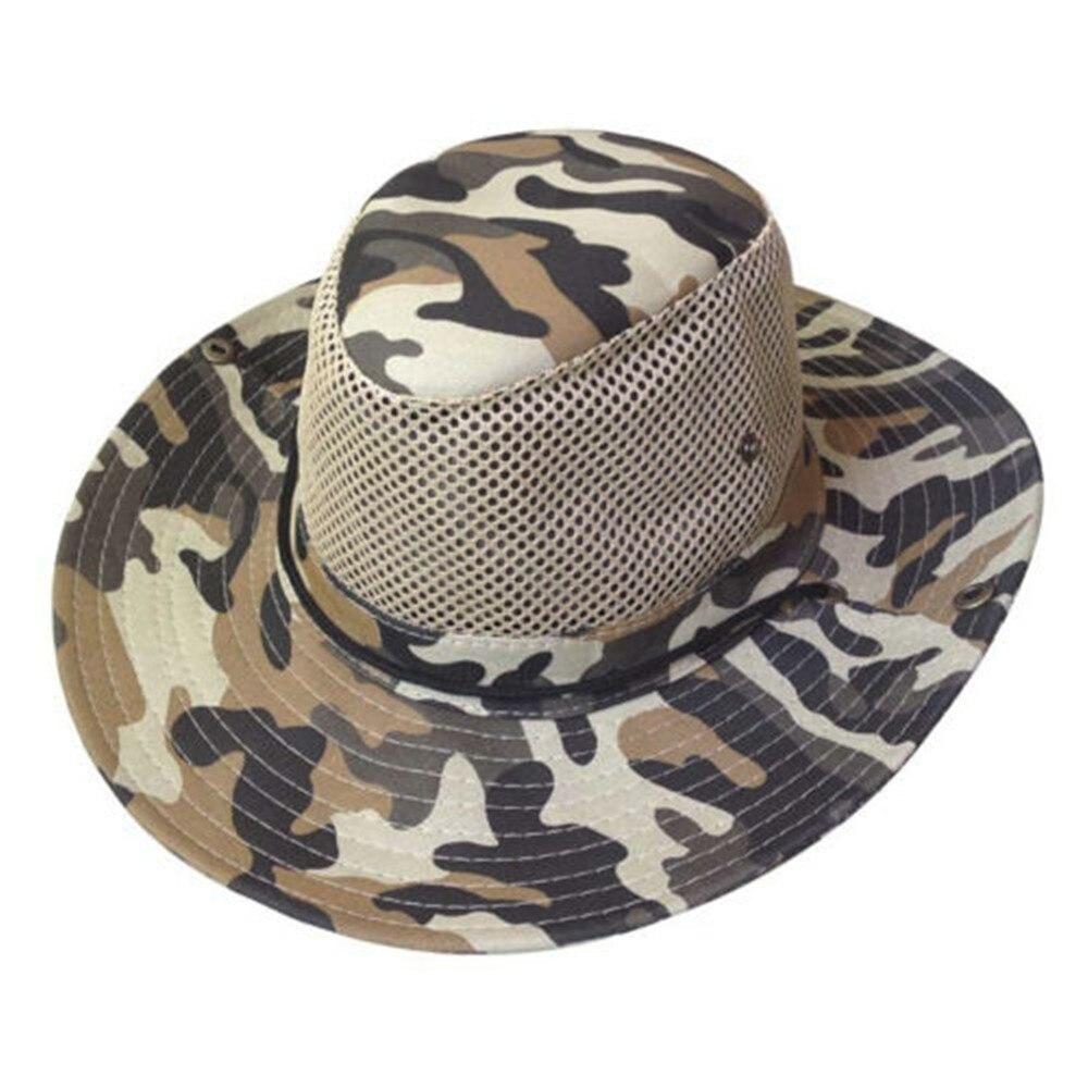 Unisex Casual Sun Hat Men Wide Full Brim Camouflage Mesh Design Fishing Cap 1PC Fashion New Hot