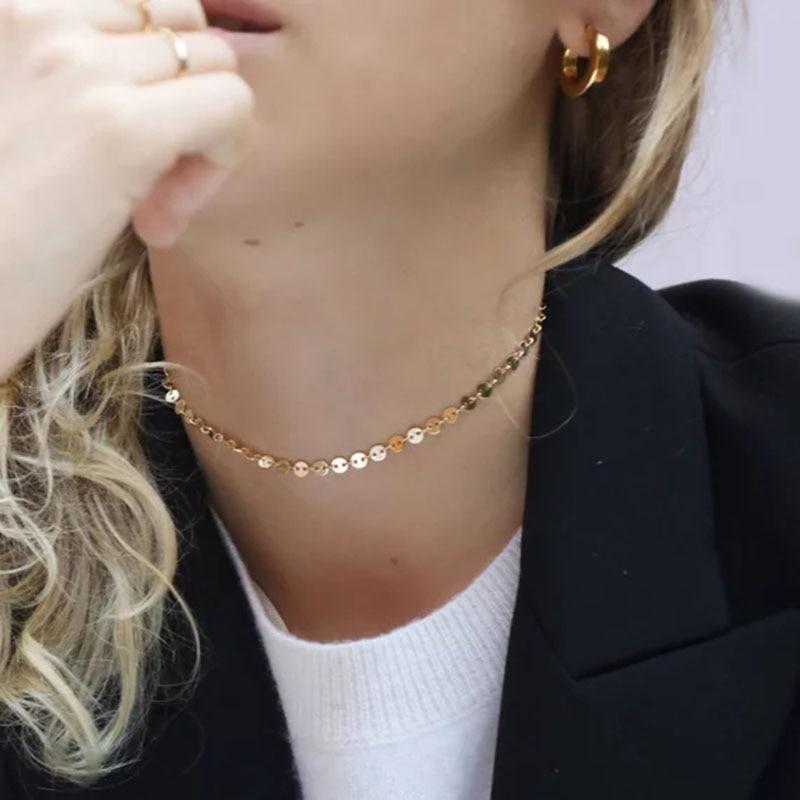 Sautoir en or fait main pièces disques Collier pendentifs personnalisés Bijoux Collier Femme Kolye Collares Collane Bijoux Riverdale