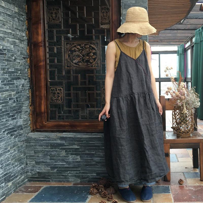 Johnature Women Gray Summer Dress Spaghetti Strap Linen 2019 New Loose Vintage Original Sleeveless Casual Women