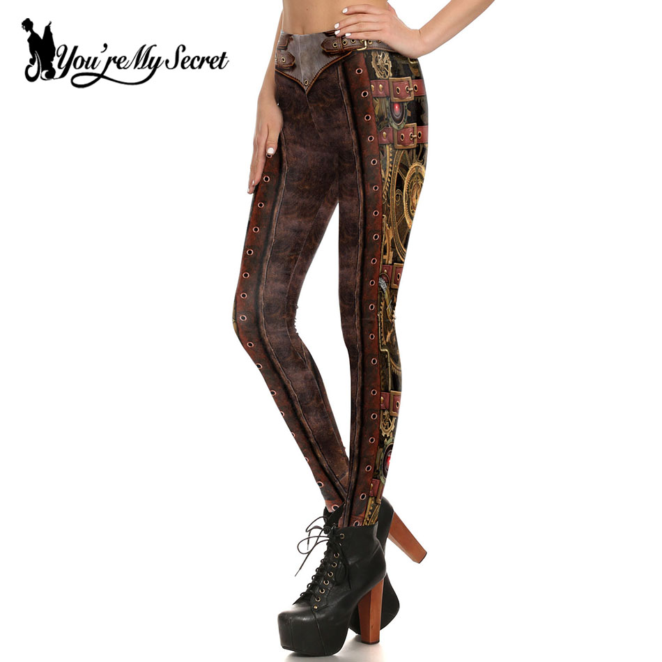 [You're My Secret] Hot Retro Vintage Steampunk Series Gears of War Cosplay Dark Brown Digital Print Leggins Women   Leggings   Femme