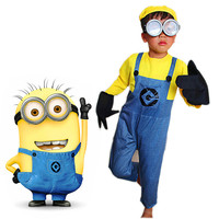 Children's Minion Costume Boys/Girls Anime Cosplay Costumes Kids Minion Costume Halloween Suit Clothes Including With Glasses