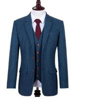 Men's Wardrobe Essentials Classic Windowpane Suit Wool Retro Blue HERRINGBONE Tweed British style custom made Men suit