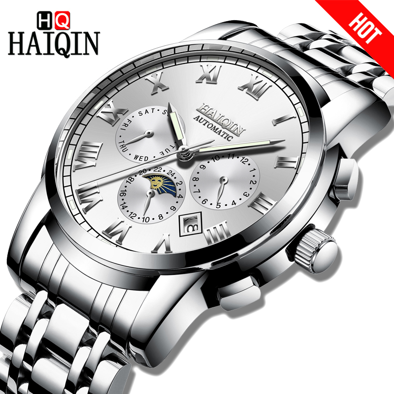 HAIQIN Brand Mens watch Automatic mechanical Business Watch men Waterproof sports Full steel Male Wristwatch Relogio MasculinoHAIQIN Brand Mens watch Automatic mechanical Business Watch men Waterproof sports Full steel Male Wristwatch Relogio Masculino