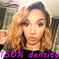 Full Lace Human Hair Wigs Blonde Ombre Brazilian Virgin Hair Lace Front Human Hair Wigs Short Bob Wavy Glueless Front Lace Wig