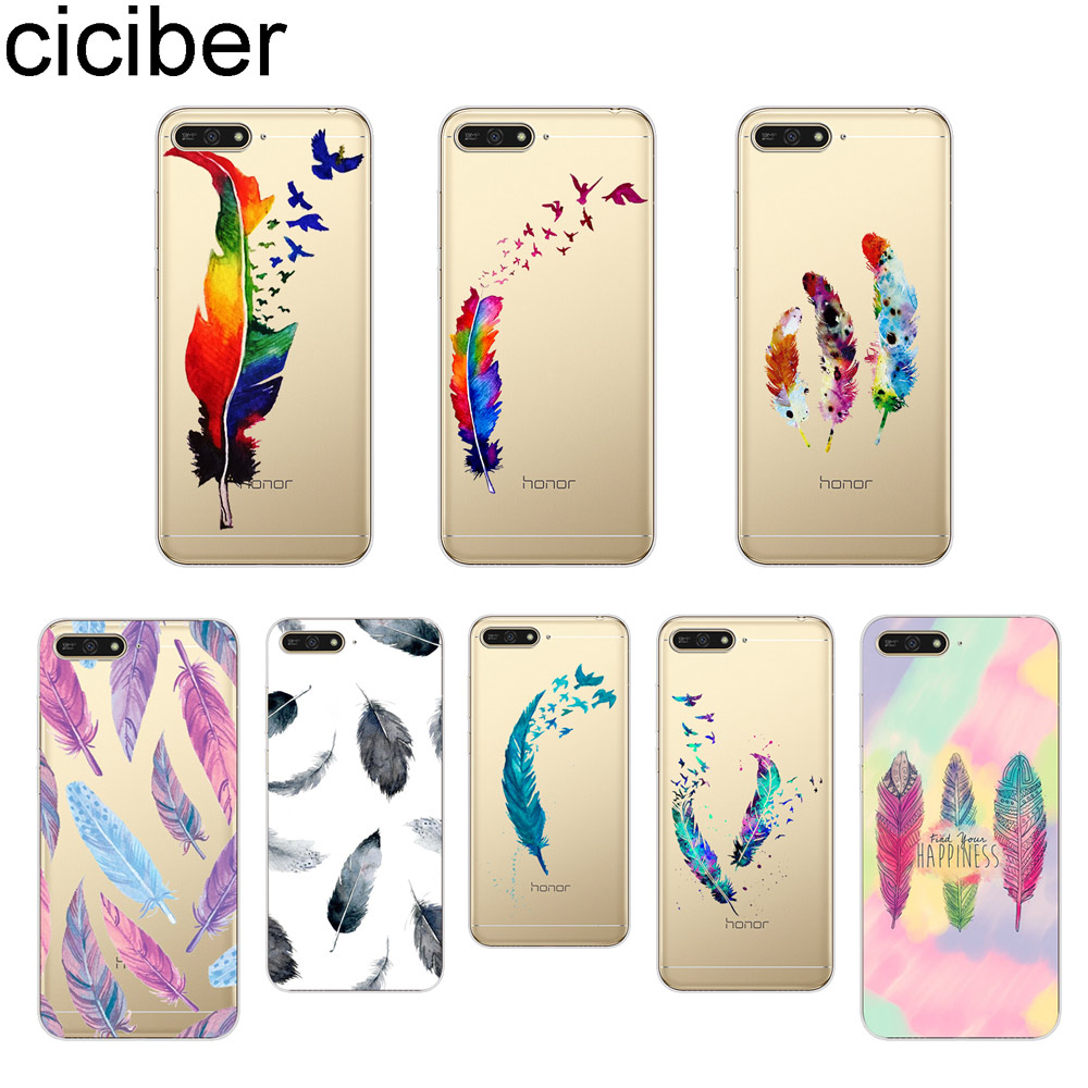 ciciber Fashion Colorful Feather Pattern Phone Case for <font><b>Huawei</b></font> Y6 Y9 Y7 <font><b>Y5</b></font> Y3 Prime Pro 2018 2017 <font><b>2019</b></font> Soft TPU Back Cover <font><b>Capa</b></font> image