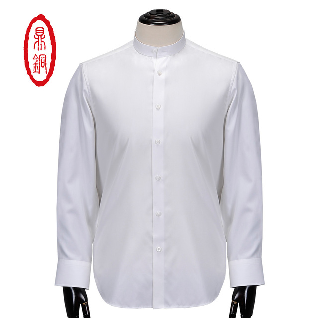 7b30059867 DINGTONG Hombres Cuello Mao Algodón De Seda Por Encargo Fit Camisa de  Estilo de Moda Camisa