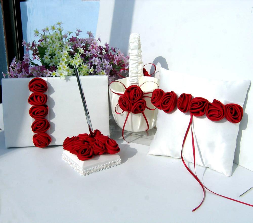 4Pcs / set 레드 / 핑크 장식 웨딩 새틴 링 베개 & 꽃 바구니 & 게스트 책 & 펜 설정 신부 장식 제품 공급에 대 한