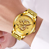 Relogio masculino genuíno lige relógios dos homens topo marca de luxo dragão ouro escultura relógio de quartzo masculino aço completo relógio de pulso + caixa|box brand|watch brand men|watch men -