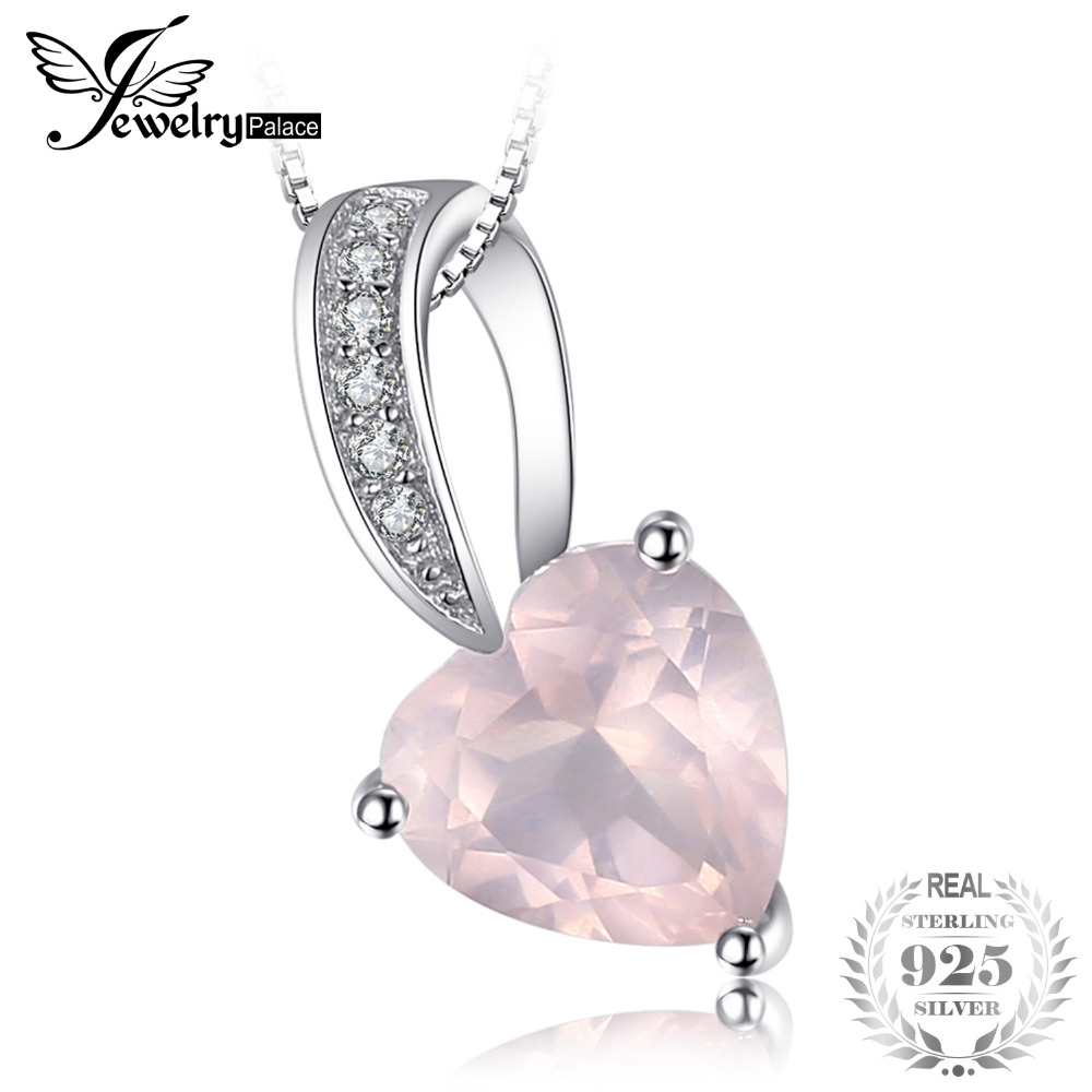 JewelryPalace Love Heart 1ct Pink Quartz Pendant 925 Sterling Silver Pendants Necklace Fine Jewelry Cubic Zirconia Without ChainJewelryPalace Love Heart 1ct Pink Quartz Pendant 925 Sterling Silver Pendants Necklace Fine Jewelry Cubic Zirconia Without Chain