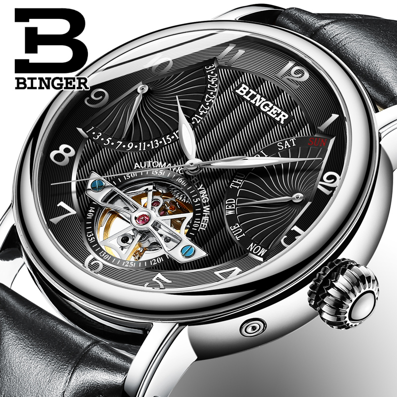 สวิตเซอร์แลนด์ BINGER นาฬิกาผู้ชายผู้ชายหรูหรา Tourbillon อัตโนมัตินาฬิกาผู้ชาย Self   Wind Mechanical นาฬิกาข้อมือ reloj-ใน นาฬิกาข้อมือกลไก จาก นาฬิกาข้อมือ บน   2