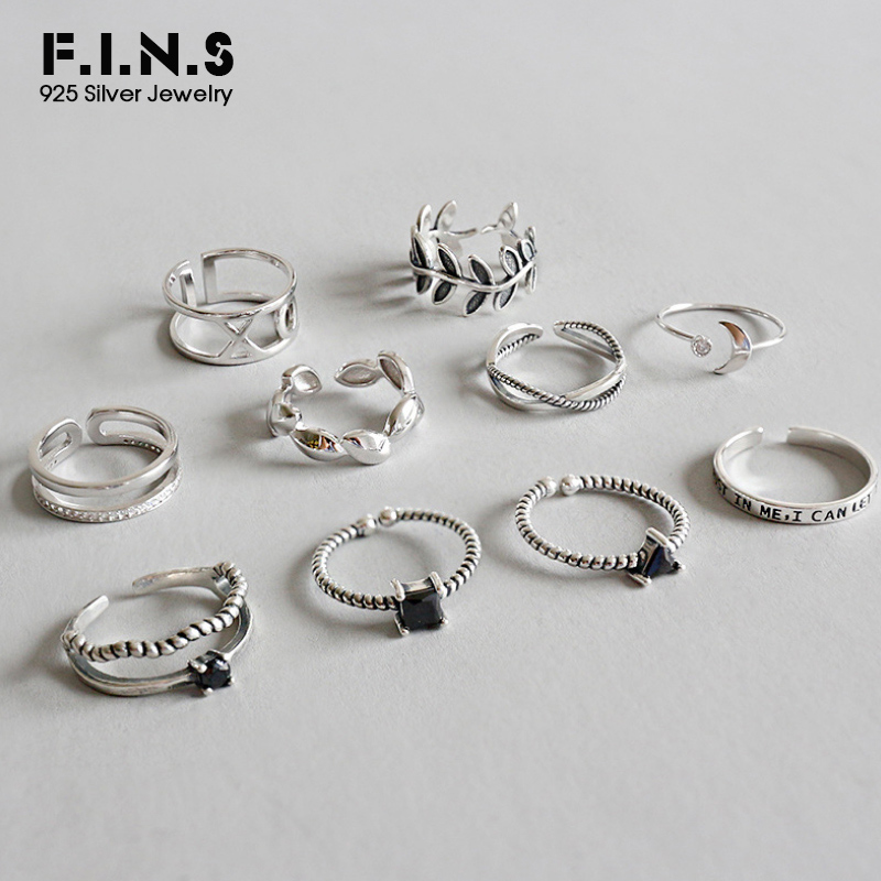 F.I.N.S 925 Sterling Silver Stackable Finger Rings For Women Retro Multi Styles Geometric Leaf Vintage Silver Ring 925