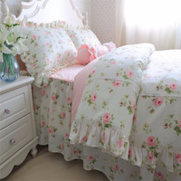FADFAY Sweet Lace Princess Bedding Cotton Romantic Green Pink Rose Floral Flower Bedding Set Girls Kids Queen King Size Bed Set