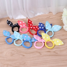 10Pcs Kids Girl Rabbit Ears Polka Dot Hair Tie Ponytail Holder Bow Elastic Bands все цены