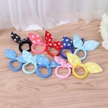 10Pcs Kids Girl Rabbit Ears Polka Dot Hair Tie Ponytail Holder Bow Elastic Bands kids heart polka dot tee