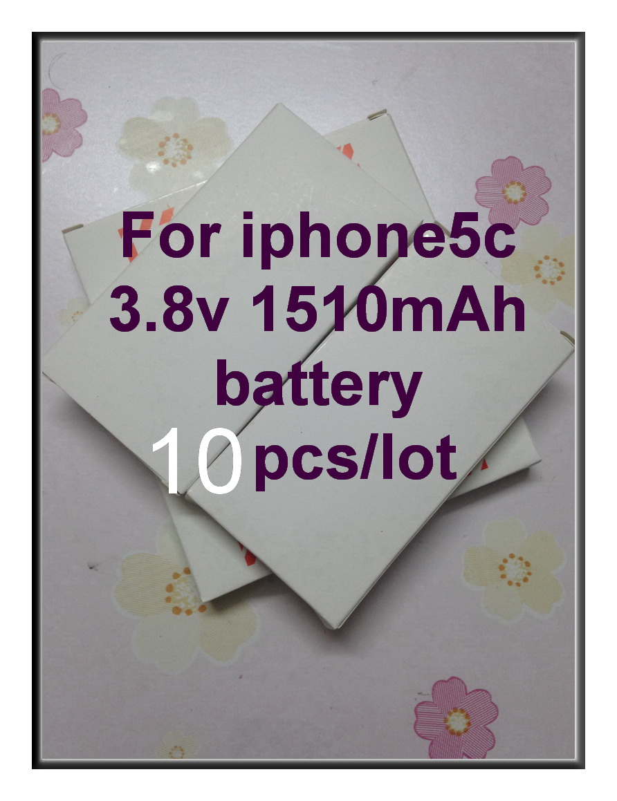 Free Shipping 10pcs/lot new battery repair parts for iphone 5C battery build-in Li-ion battery 1510 mah