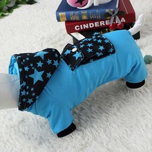 Waterproof thick Puppy Jumpsuit with a hood and a pocket