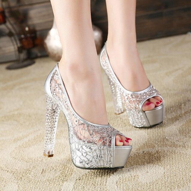 2018 nuovo stile di estate sandali femminili di spessore con il cristallo degli alti talloni della bocca dei pesci openwork maglia scarpe da donna