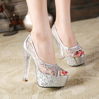 2018 summer new style sandals female thick with crystal high heels fish mouth mesh openwork ladies shoes