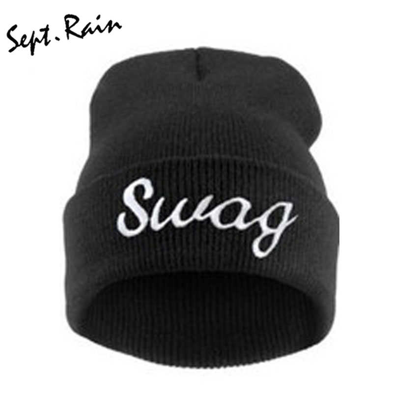 SWAG Hip Hop Letter Hats Women Cheap Beanies Knitting Bonnet Men Wool Warm  Mens Winter Snowboard 99cd45d504a