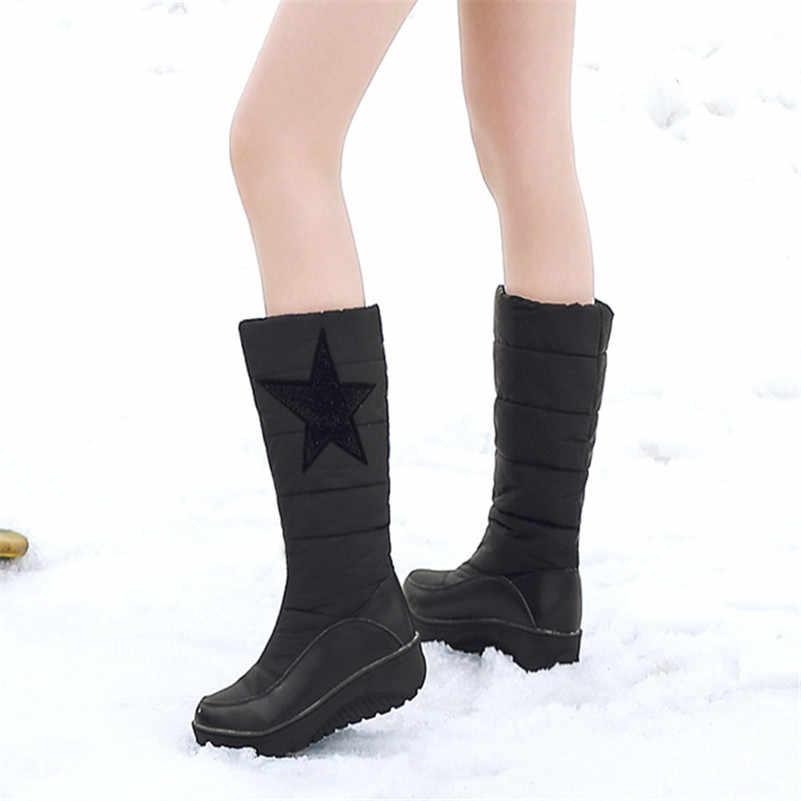 FEDONAS 2020 Kış Yeni sıcak Kadın Orta Buzağı Botları Suni Deri Uzun Çizmeler Yüksek Topuklu Kar Botları Üzerinde Kayma temel Ayakkabı Kadın