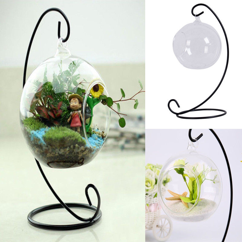 Flower Hanging Vase Glass Flower Pots Planter Plant Terrarium Container Home Wedding Decoration With Support