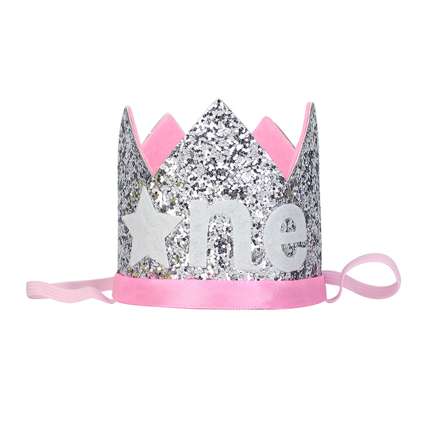 dabb56a6917 One Year Old Glitter Hat Twinkle Little Star Crown Kids First Birthday  Party Hat 1st Cake Glitter Crown Baby Shower Silver Pink