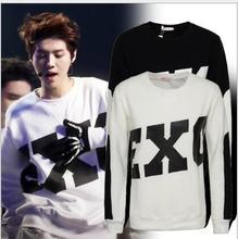 NEW 2017 Kpop EXO Baekhyun Luhan Kris Sehun Black White Sweatshirt Suit Women Long Sleeve Hoody Outerwears Clothes K-pop