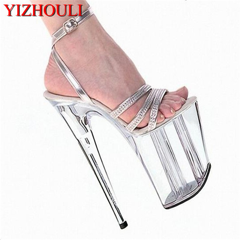 Wholesale women's shoes silver ankle strap wedding shoes platform 20cm high heels sandals 8 inch dress shoes crystal party shoes 15cm ultra high heels sandals ruslana korshunova platform crystal shoes the bride wedding shoes