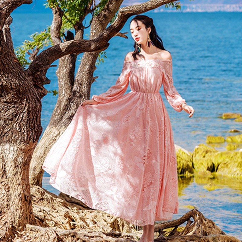 2019 mode la nouvelle dentelle lanterne manches broderie grand pendule vacances robe livraison gratuite