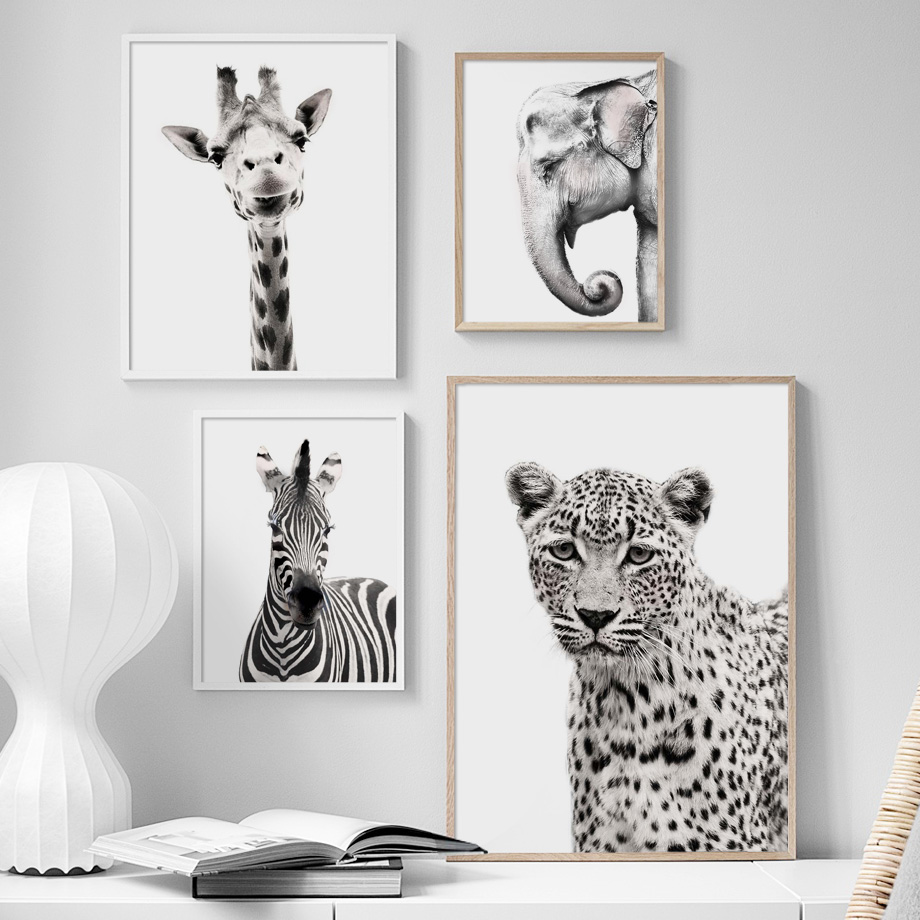Big Sale  Black White Animal giraffe zebra Elephant Wall Art Canvas Painting Nordic Posters And Prints Wall P