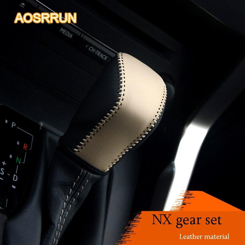 AOSRRUN Approprié Pour Lexus NX200 NX200T NX300H RX200t RX450h gear set de modifié intérieur de la tête de vitesses en cuir modification couvre
