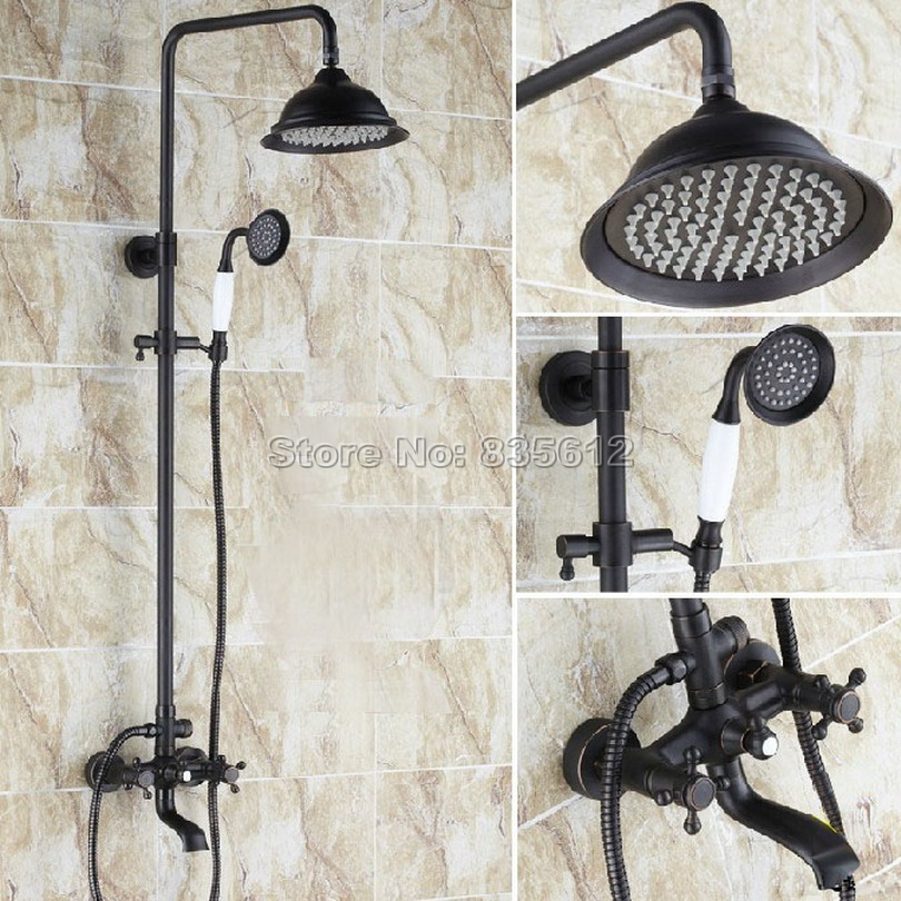 Oil Rubbed Bronze Bathroom Shower Mixer Faucet Set Hand shower Tap Wall Mounted