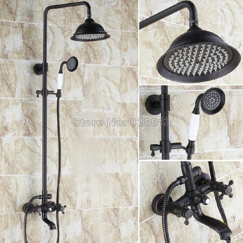 Black Oil Rubbed Bronze Bathroom Rain Shower Faucet Set with Ceramic Handheld Shower + Calwfoot Bathtub Mixer Tap Whg043