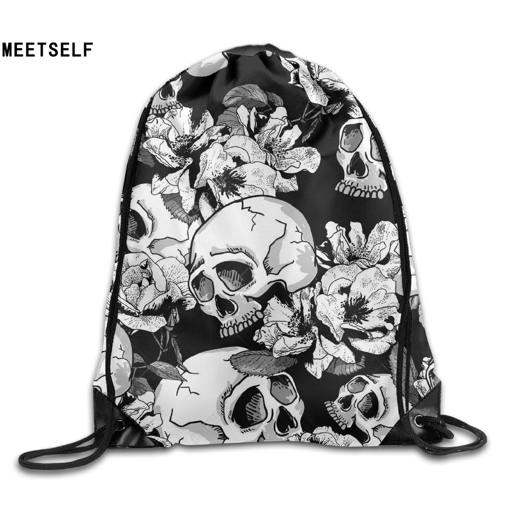 Samcustom 3d Print Skull Flower Shoulders Bag Women Fabric Backpack Girls Beam Port Drawstring Travel Shoes Dust Storage Bags