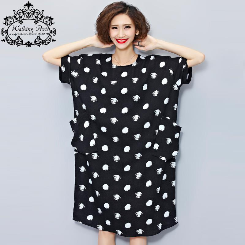 3686043bd8 Big Size New Women Summer Dress White Polka Dot Fashion Dresses Casual T-shirt  Dress Linen Clothes With Pocket Female Long Tops