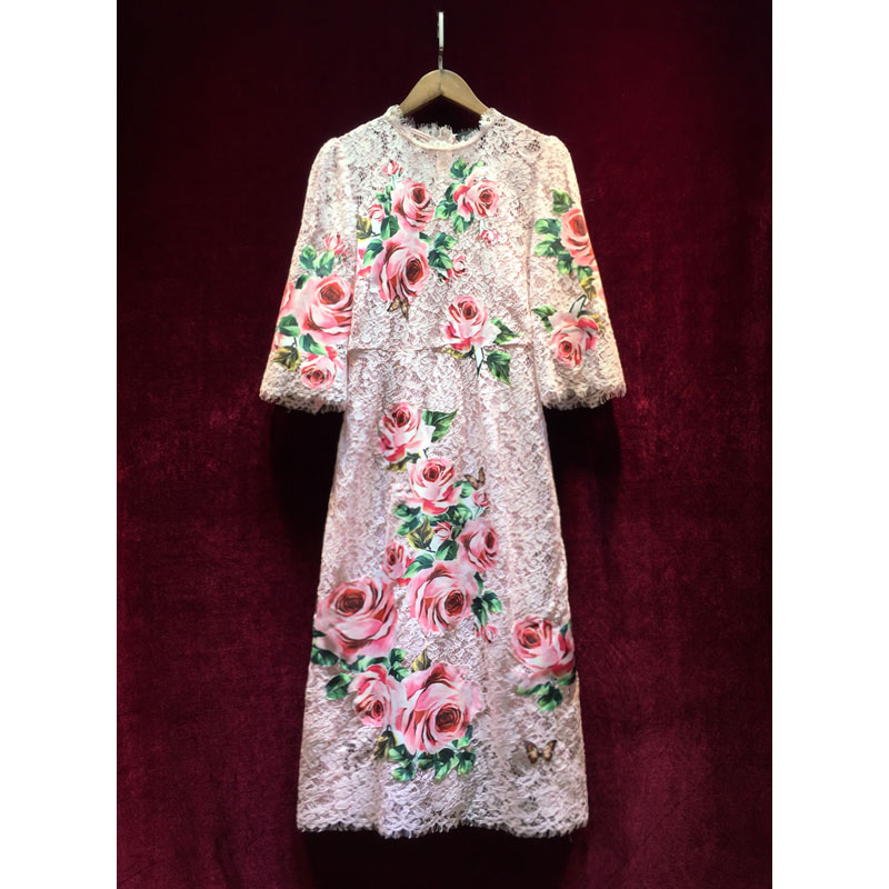 Quarts O D'été Rose Appliques Femmes Arrivée Vintage Cou Moulante Nouvelle Trois Robe Dentelle 2018 Élégantes Vestidos Imprimé MUpSzV