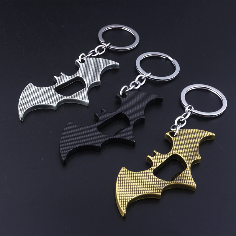 SG 3 Color Batman Beer Bottle Opener Keychains Superman Spider Bat Iron Man Pendants Keyring Avengers Llaveros Men Movie Jewelry