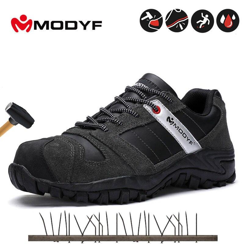 Modyf Herren Schwarz Sicherheit Schuhe Mit Stahl Kappe Kappe Schutzhülle Schuhe Outdoor Arbeits Schuhe