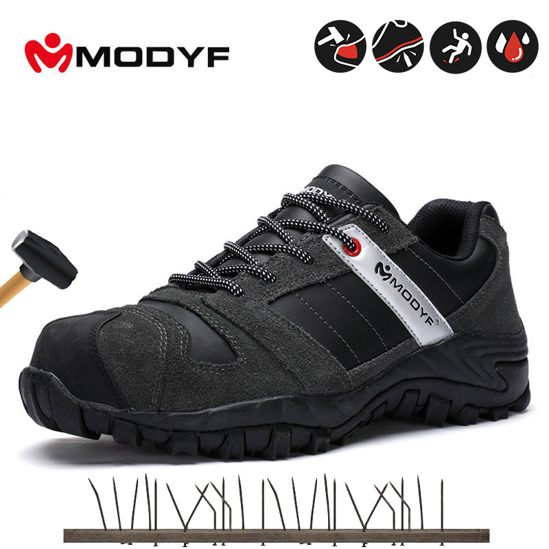 Modyf Mens Black Safety Shoes With Steel Toe Cap Protective Footwear Outdoor Working Shoes