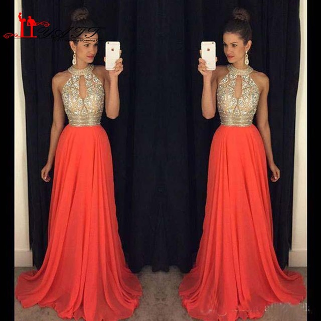 Prom Dresses 2016 High Neck Evening Formal Party Long Wear Wedding