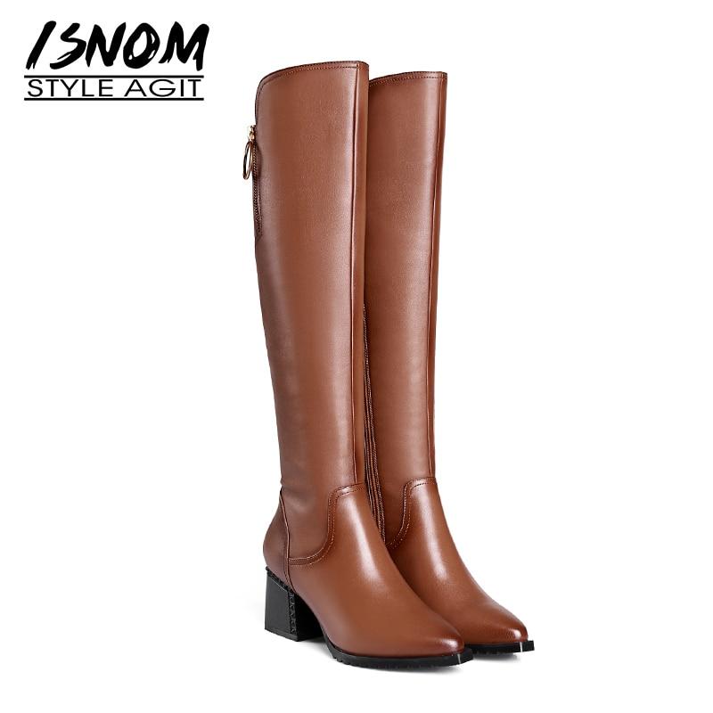 ISNOM Thick High Heels Women Boots Zip Pointed Toe Footwear