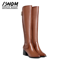 ISNOM Thick High Heels Women Boots Zip Pointed Toe Footwear Genuine Leather Female Boot Motorcycle Shoes Woman 2018 Winter Black